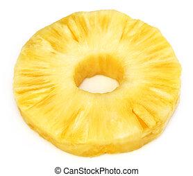 Sliced pineapple over white background