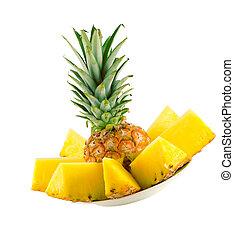 sliced pineapple - sliced ripe pineapple isolated on white ...