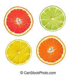 sliced pink grapefruit, lime, lemon and orange isolated on...