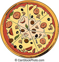 Sliced pizza isolated on white background. Hand drawing sketch vector illustration