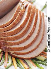 sliced pork ham - sliced baked ham on a plate with...