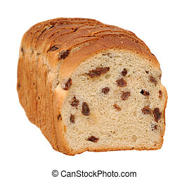 sliced raisin cinnamon bread isolated on white background