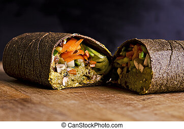 sliced raw food wrap - sliced up raw food wrap with vegan...