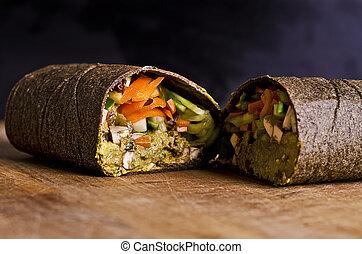 sliced raw food wrap - sliced up raw food wrap with vegan...