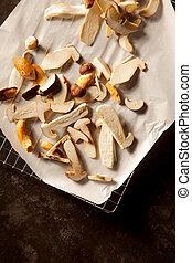 Sliced raw fresh forest mushrooms