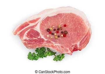 sliced raw pork meat with parsley isolated on white background. Top view. Flat lay