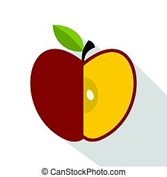 Sliced red apple icon, flat style
