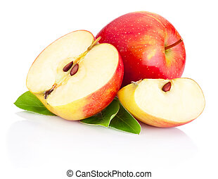 Sliced Red apples with green leaves isolated on white background