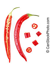 Sliced red hot chili peppers isolated on white background, top view.