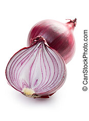 sliced red onion - the sliced red onion on white background