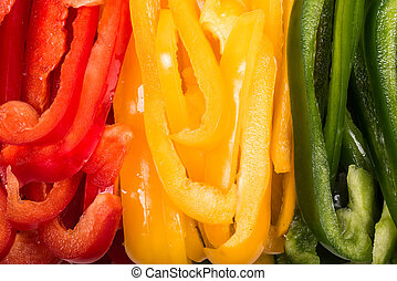 sliced ??red, yellow and green Bell Peppers