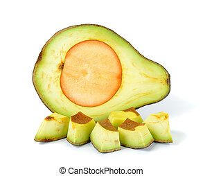 Sliced ripe avocado isolated on white