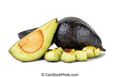 Sliced ripe avocado isolated on white background