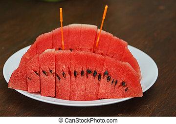 Sliced ripe watermelon fresh fruit