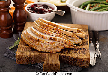 Sliced roasted turkey for Thanksgiving or Christmas dinner