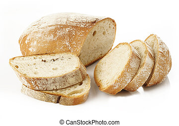 Sliced rustic bread on white background