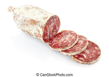 Sliced salami isolated on white, clipping path included