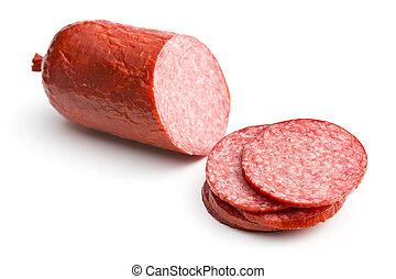sliced salami on white background