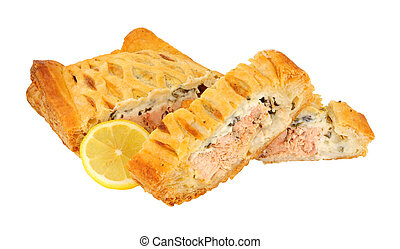 Sliced Salmon Wellington - Sliced puff pastry covered salmon...