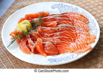 Sliced salted salmon
