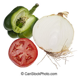 Sliced Sections of a Green Bell Pepper, Tomato, and White Onion