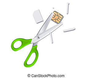 sliced sim card isolated on white background