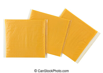 Sliced Smokey BBQ processed cheese, single slice wrapped in package isolated on white