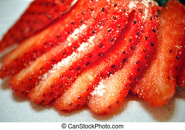 Sliced strawberry - Strawberry sliced with sugar