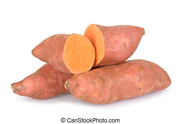 sweet potatoes - sliced sweet potatoes isolated on white ...