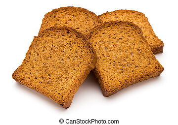 Sliced Toast Bread isolated on white background, top view.