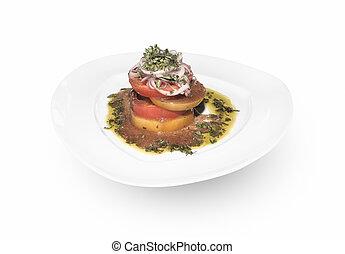 Sliced tomato appetizer plate