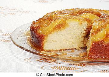 sliced upside down pear cake