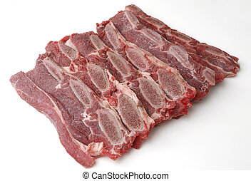 sliced veal chop. Raw beef