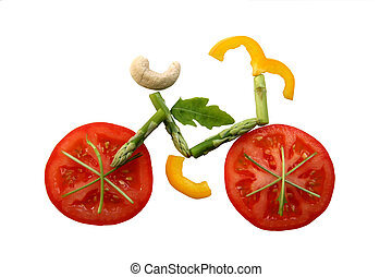 Sliced vegetables in form of a bicycle