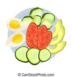 Sliced vegetables on a round plate. Vector illustration.