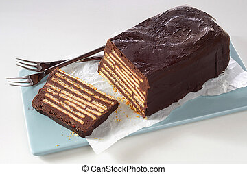 Sliced Wandsbeker Speck cake on tray