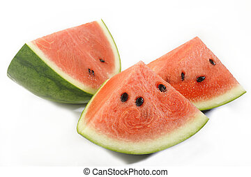 Sliced watermelon isolated on white background