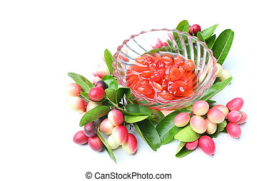 Sliced welded carissa carandas fruits on white background