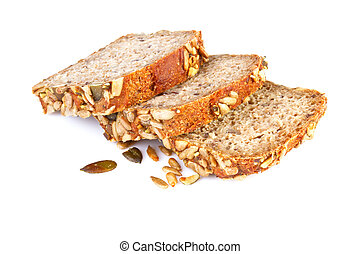 sliced ??whole wheat bread on white background