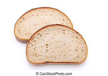 sliced wholemeal bread isolated on white background