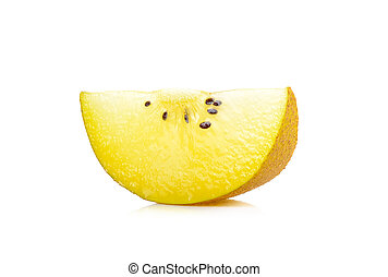 Sliced Yellow gold kiwi fruit isolated