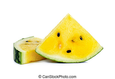 Sliced yellow watermelon isolated on the white background
