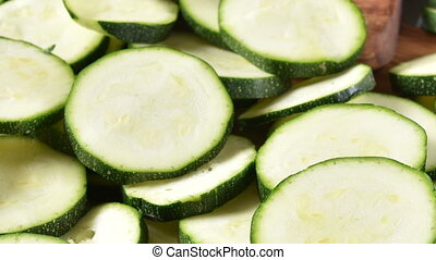 Sliced Zucchini - High angle view of sliced zucchini on a...