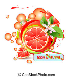 Slices grapefruit with flowers, leaves and drops