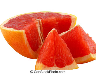 Slices of a grapefruit. A close up. It is isolated on a ...