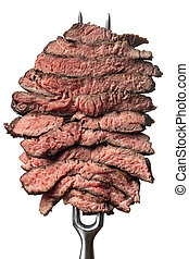 slices of a steak on white background