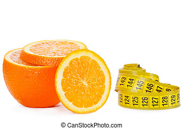 Slices of an orange with measuring tape on a white background