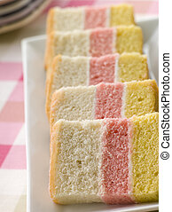 Slices Of Angel Cake On Plate
