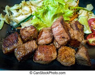 Slices of beef steak