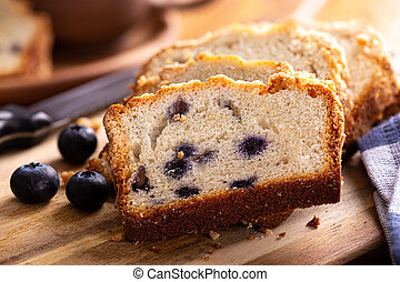 Slices of Blueberry Streusel Bread - Closeup of sliced ...